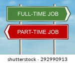 Part Time Job. Road Sign On Th...