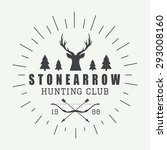 hunting logo in vintage style.... | Shutterstock .eps vector #293008160