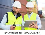 view of two young attractives...   Shutterstock . vector #293008754
