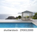 pavilion by the pool with a... | Shutterstock . vector #293012000