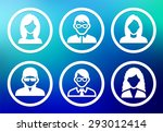 people face set on blue round... | Shutterstock .eps vector #293012414