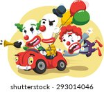 circus clown driving a car with ... | Shutterstock .eps vector #293014046
