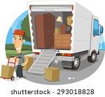 moving truck vector cartoon... | Shutterstock .eps vector #293018828