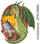 knight fighting fire dragon in... | Shutterstock .eps vector #293018888