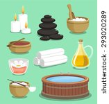 spa icon set candle rock salt... | Shutterstock .eps vector #293020289