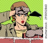Woman Worker Builder Lays Bricks
