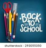 back to school title words with ... | Shutterstock .eps vector #293055350