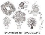 garden set with 6 plants in... | Shutterstock .eps vector #293066348