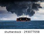 burning tanker ship on the sea.   Shutterstock . vector #293077058