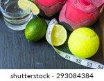sport shoes   lime tennis ball  ...   Shutterstock . vector #293084384