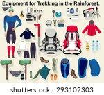 hiking flat vector.equipment... | Shutterstock .eps vector #293102303