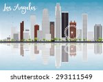 los angeles skyline with grey...   Shutterstock .eps vector #293111549
