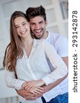 happy young romantic couple... | Shutterstock . vector #293142878