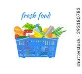 supermarket basket with food.... | Shutterstock .eps vector #293180783