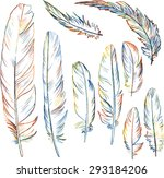 set of multicolor plumes ... | Shutterstock .eps vector #293184206