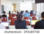 speaker giving a talk at... | Shutterstock . vector #293185730
