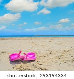 Pink Flip Flops On The Sand In...