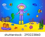 cute cartoon scuba diver and... | Shutterstock .eps vector #293223860