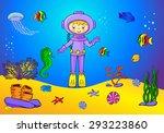 cute cartoon scuba diver and... | Shutterstock .eps vector #293223860