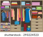 wardrobe room full of woman's... | Shutterstock .eps vector #293224523