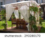 Gazebo With Wooden Pergola And...