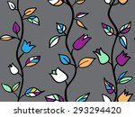 modern red sun flowers seamless ... | Shutterstock . vector #293294420