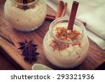 creamy rice pudding with...   Shutterstock . vector #293321936