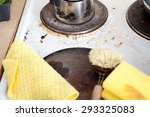 dirty stove with rusty range in ... | Shutterstock . vector #293325083