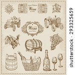 wine. vintage set | Shutterstock .eps vector #293325659