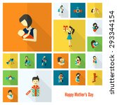 happy mothers day simple flat...   Shutterstock .eps vector #293344154