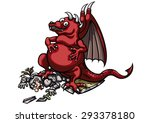 victorious dragon and wounded... | Shutterstock . vector #293378180