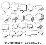 set of speech bubble hand drawn ... | Shutterstock .eps vector #293381750