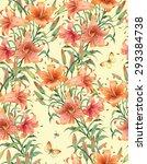lilies seamless background... | Shutterstock . vector #293384738