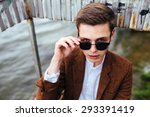 young guy in sunglasses posing... | Shutterstock . vector #293391419
