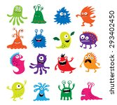 seth bright funny cute monsters ... | Shutterstock .eps vector #293402450