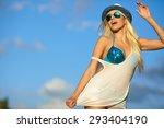 portrait of a beautiful woman... | Shutterstock . vector #293404190