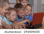 a group of five school boys in...   Shutterstock . vector #293409650