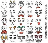 vector set of cartoon face | Shutterstock .eps vector #293422916