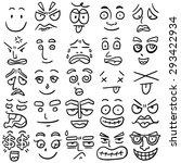 vector set of cartoon face   Shutterstock .eps vector #293422934