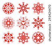 snowflake  heart view icon set. ... | Shutterstock .eps vector #293424470