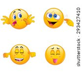 4 emoji smiley faces | Shutterstock .eps vector #293427410