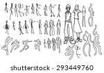 set of doodle people... | Shutterstock .eps vector #293449760