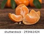 Ripe Mandarin Fruit Peeled Ope...