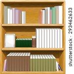 book shelves  3 rows  filled...   Shutterstock .eps vector #293462633