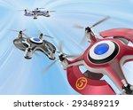 red racing drones chasing  in...   Shutterstock . vector #293489219