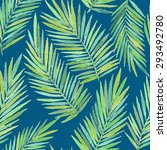 seamless pattern with palm... | Shutterstock .eps vector #293492780
