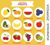 collections of fruits icon ... | Shutterstock .eps vector #293494214
