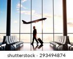 businessman in airport and... | Shutterstock . vector #293494874