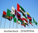 opec countries  flags waving in ... | Shutterstock . vector #293499944