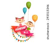 red ribbon with friendship day...   Shutterstock .eps vector #293515346